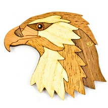 Northwoods Wood Marquetry Bald Eagle Bust Refrigerator Magnet - $134,18 MXN