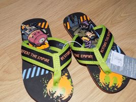 Boy's Size 9-10 Disney Store Star Wars Rebels Green Black Flip Flops Shoes New image 4