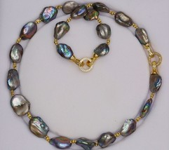THREE WAYS CAN WEAR Mixed-color Baroque Natural Freshwater Pearl Necklace sweate - $53.24