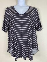 Torrid Women Plus Size 3 (3X) Gray Striped Deep V Neck Tunic Blouse Elbo... - $22.50