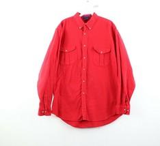 Vintage 90s Streetwear Mens Large Double Pocket Chamois Cloth Button Shi... - $44.50