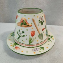 Yankee Candle lamp shade Topper Plate Spring Garden Flower Pattern flora... - $20.88