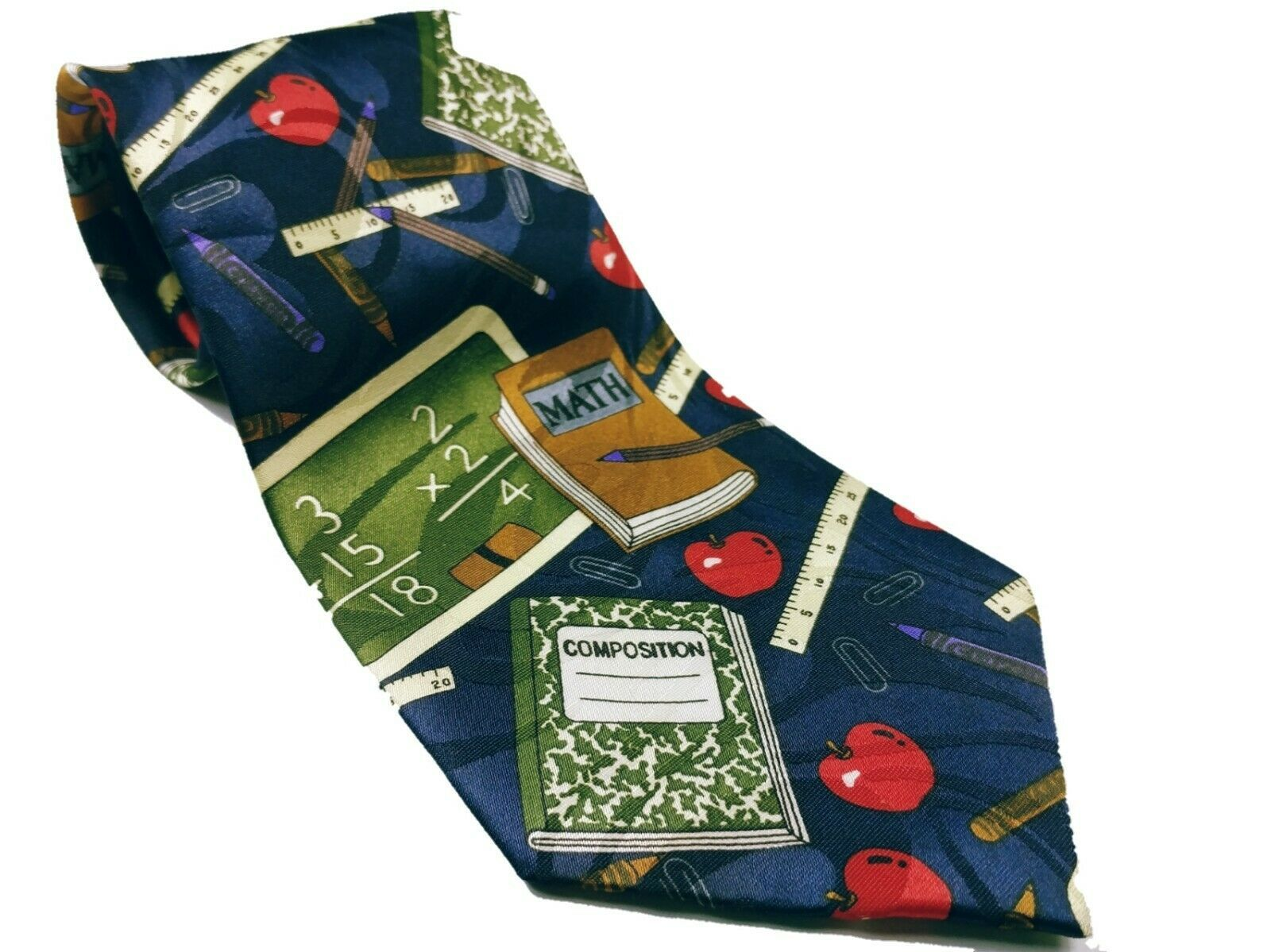 Fratello Men's School Days Teacher Math Ruler Composition Necktie Novelty