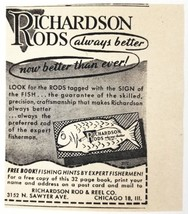 1947 Print Ad Richardson Fishing Rod & Reel Co. Chicago,IL - $7.50