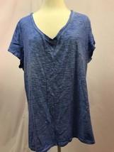 Gap Blue V Neck Short Sleeve Knit Top Size XXL - $9.49