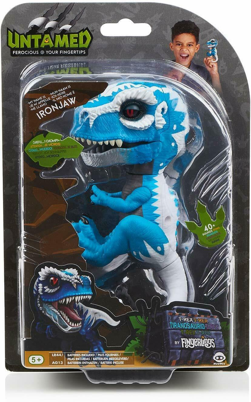 UNTAMED T-Rex's Ironjaw (Blue) Dinosaur Figure 40+ Sounds, Reacts To Touch - $59.39