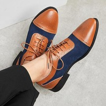 Handmade Men's Brown Leather & Blue Suede Cap Toe Brogues Two Tone Dress Shoes image 1