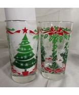 Christmas Tree Snowflakes Holly Leaves and Ribbon Beverage Glasses Set o... - $37.39