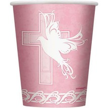 Dove Cross Pink Girls Baptism 9 oz Paper Cups 8 Count Party Supplies New - $3.42