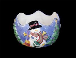Sue Zipkin Handpainted SWEET SHOPPE Snowman Scalloped Large Serving Bowl NIB - $39.99