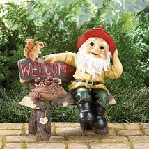 GARDEN GNOME Statue Welcome Greeting Sign Outdoor Decor - $33.89