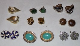Lot Vtg Clip On Earrings Signed Jewelry 8 Pair Trifari Costume Ear Rings... - $33.83