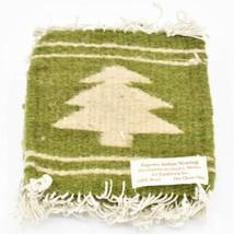 Handmade Zapotec Indian Weaving Hand-Woven Pine Tree Green Wool Coaster Set of 4
