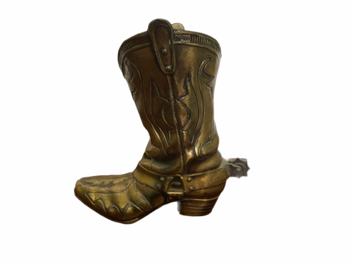 "Vintage 9"" Solid Brass Cowboy Boot w/ Spur Planter Vase Artbrass Giftmakers"