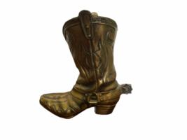 "Vintage 9"" Solid Brass Cowboy Boot w/ Spur Planter Vase Artbrass Giftmakers image 1"