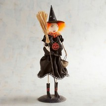 NWT PIER1 Halloween Metal Glitter Young Witch Orange Sculpture Figurine ... - $39.59