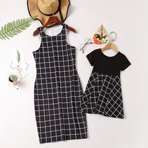 Family Matching Outfits Plaid Dress 2019 Summer Style Mother Daughter Bl... - $14.80