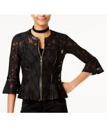 I.N.C. XL Black Lace Peplum Full Zip Bell Sleeve Jacket NWT Faux Leather... - $27.77