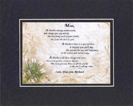 Personalized Touching and Heartfelt Poem for Mothers - A Mother Always U... - $22.72