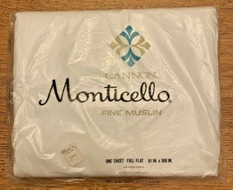 Vintage Cannon Monticello Fine Muslin Full Flat Sheet 81 x 108 White NOS - $28.95