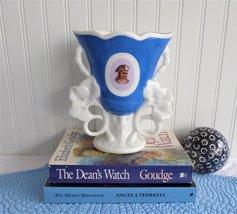 Victorian Spill Vase Mantle 1890s Vase Fashionable Lady Blue White German  - $88.00