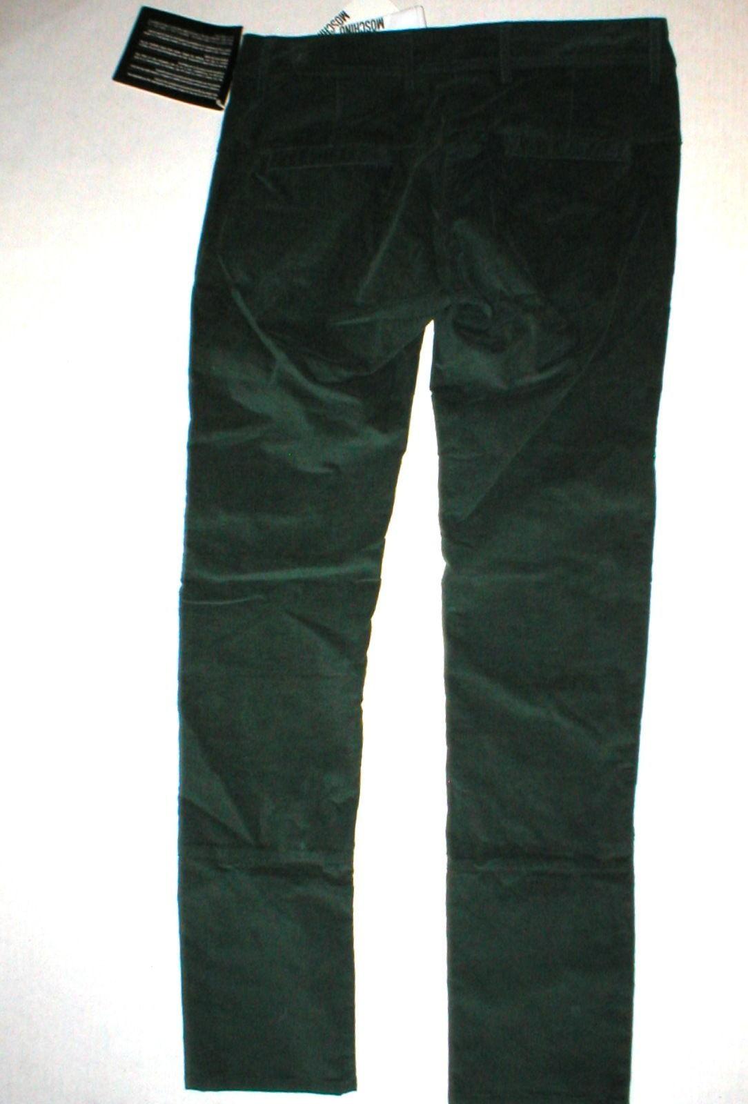 New NWT Womens 4 Dark Designer Love Moschino Green Velvet Pants Corduroy Skinny image 5