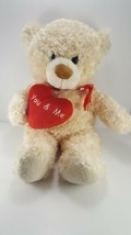 Valentine Tan Teddy Bear You And Me Red Heart Plush Stuffed Animal Large... - $15.83