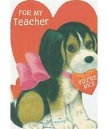 Vintage Valentine Card Beagle Dog in Pink Bow for Teacher Hallmark - $5.93