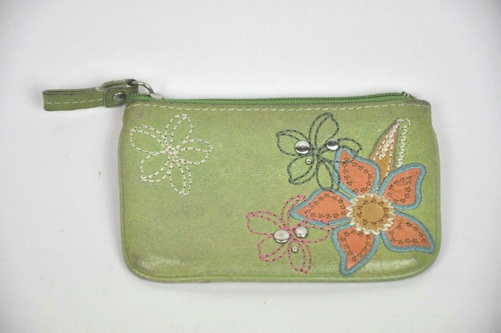 "FOSSIL Coin Purse GREEN Leather Embroidered WALLET Flowers ZIP Top SL976 3""x5"""