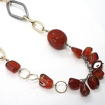SILVER 925 NECKLACE, BURNISHED AND PINK, CARNELIAN RED, LENGTH 70 CM image 3