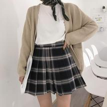 Women Girl YELLOW Pleated Plaid Skirt Plus Size School Style Pleated Plaid Skirt image 8