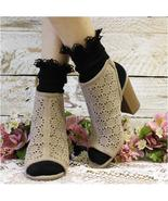 Black lace socks, cute sock for booties, lace ankle socks, black socks w... - $10.99