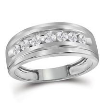 10k White Gold Mens Round Diamond Band Wedding Anniversary Ring 1/2 Ctw - $559.00