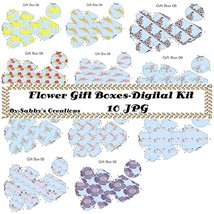 FlowerGift Boxes Digital Kit 45-Digtial Paper-Art Clip-Gift Tag-Jewelry-... - $4.99