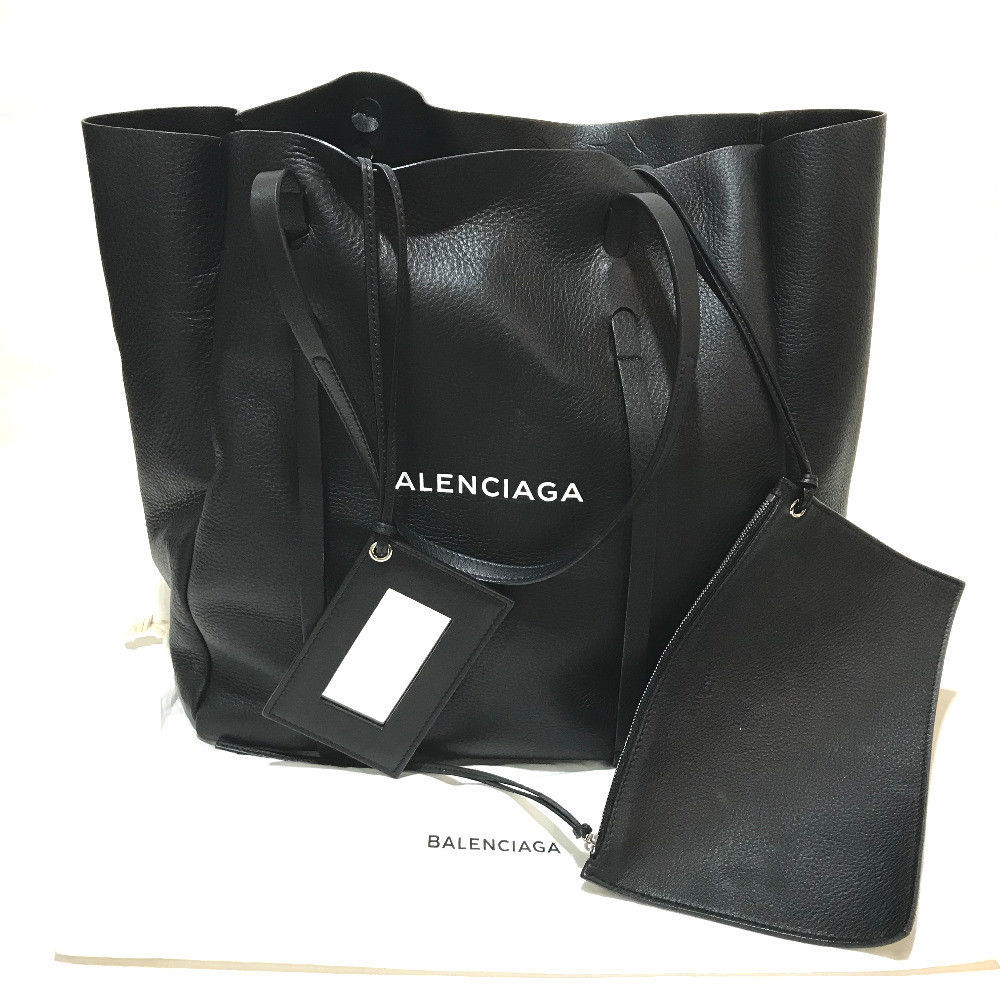 BALENCIAGA Everyday Tote M pouch with mirror Tote Bag black Leather 475201