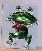 """Frog Holding Jeweled Fuchsia Center Stone 4"""" Tall 3"""" Loop Ornament - $7.10"""