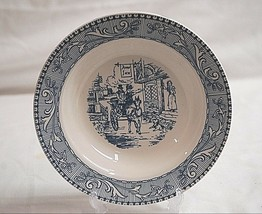 "Old Vintage Homer Laughlin 8"" Rim Soup Bowl Shakespeare Country Blue Scrolls - $14.84"