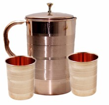 Pure Copper Water Pitcher Jug Set 2 Water Glasses Cup - $33.93
