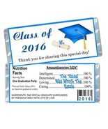50 Class of 2018 Blue Graduation Candy Bar Wrappers Party Favors - $38.57