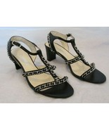 CHANEL Black Calf Leather Ankle Strap Sandals with Silver Braided Chains... - $599.99