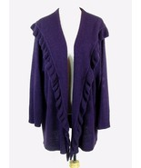 MAGGIE BARNES Size 2X Petite Purple Boucle Open Cardigan Sweater Mid-Thigh - $15.99