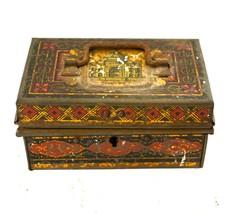 Vintage Metal Money Box Handmade Painted Lock Holder Old Jewelry Holder - $244.15