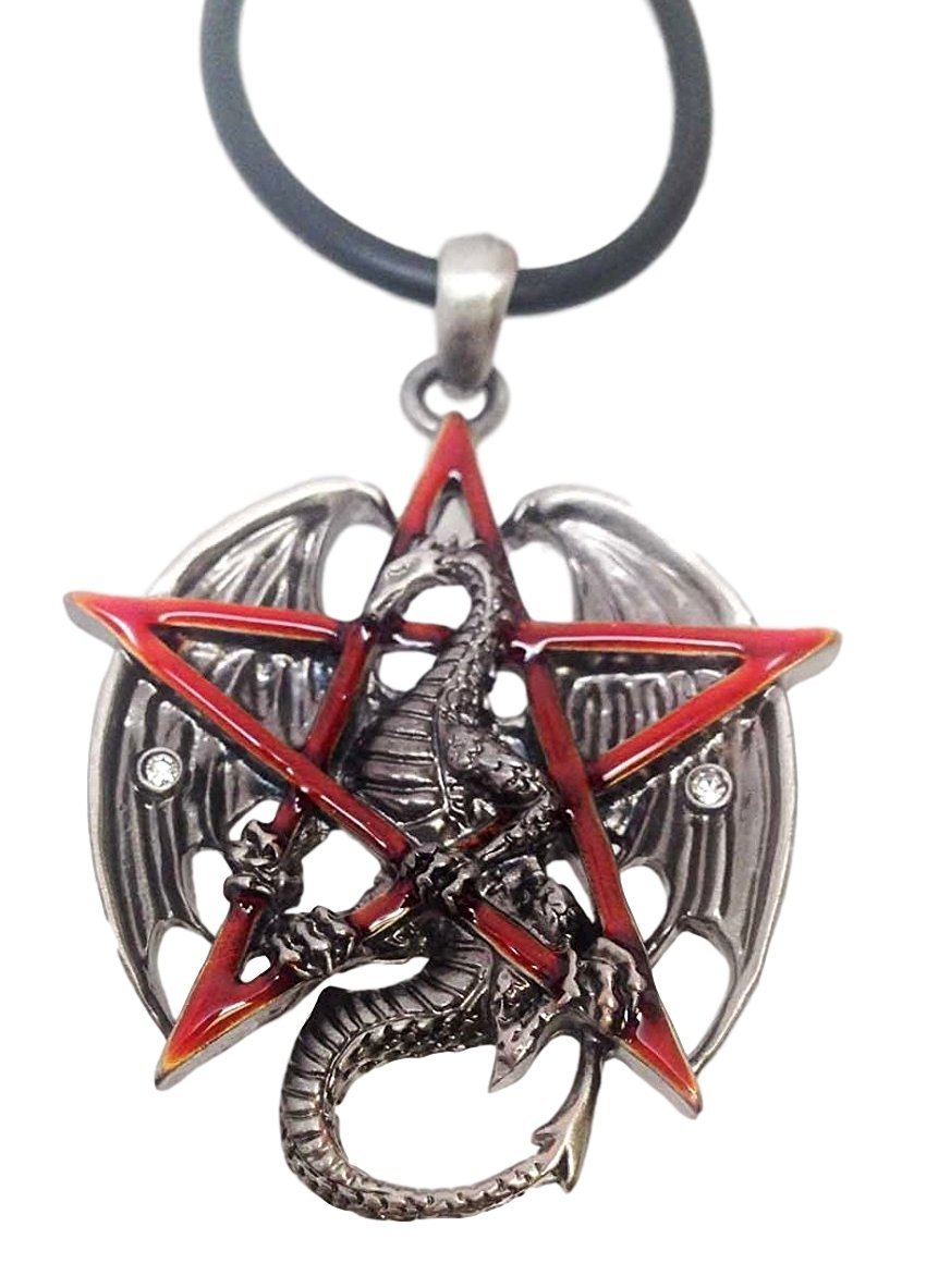 Ebros Gothic Red Pentagram Star Dragon Pendant Pewter Necklace Fantasy Mythical