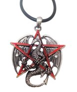 Ebros Gothic Red Pentagram Star Dragon Pendant Pewter Necklace Fantasy M... - $17.81