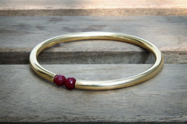 Ruby bracelet,July birthstone bracelet,gold bangle bracelet,14k gold bangle - $79.00