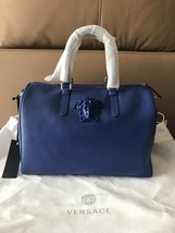 Versace $ 1495 Medusa Palazzo Blue Leather Med  Doctor Bag . NWT ! - $16.944,00 MXN
