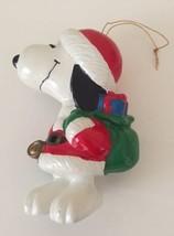 VTG Snoopy PVC Ornament Peanuts UFS Green Bag Santa Jacket Hat Gold Bell... - $13.06