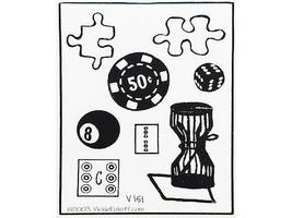 Vickie Enkoff Games Unmounted Rubber Stamp Set #V151