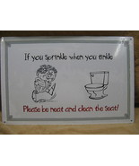 Sprinkle when Tinkle Tin Metal Sign BATHROOM FUNNY - $18.99