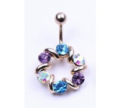 Gold Tone Crystal Navel Belly Button Ring Body Piercing Stainless Steel - $9.49